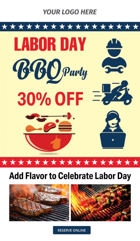 free email template Labor day BBQ party