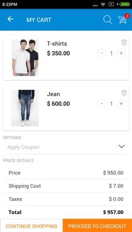 Magento app cart page