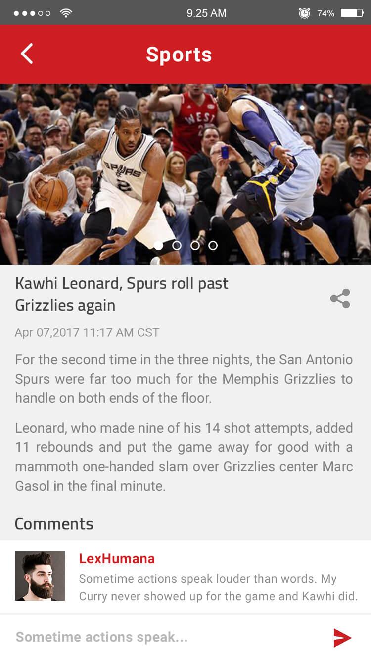sports news mobile app