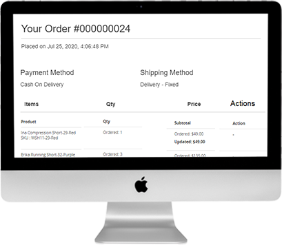 Notification alerts for customized order