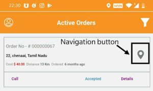 Partner views the Details of the Order- with an option to Navigate to Delivery Location