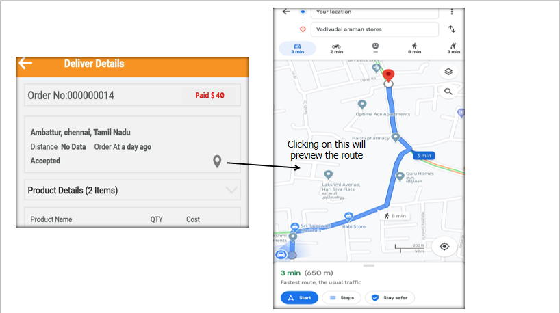 Navigation and route viewer button will take you to navigation and route preview