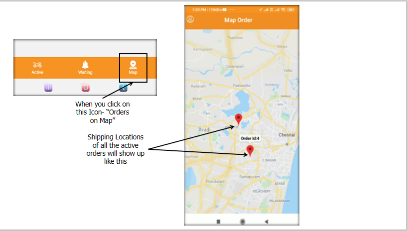 Partner can View all the Accepted Orders on the Map