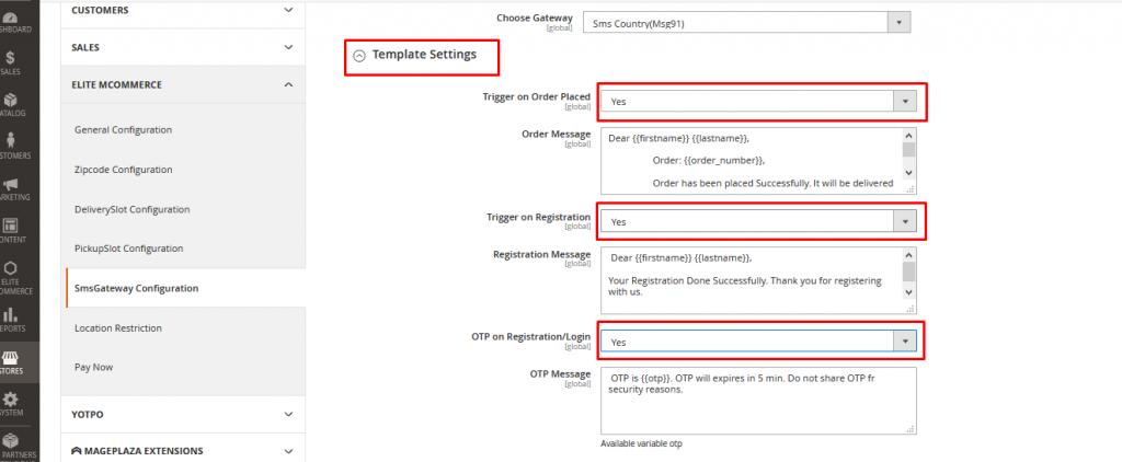 SMS Content Template Registration