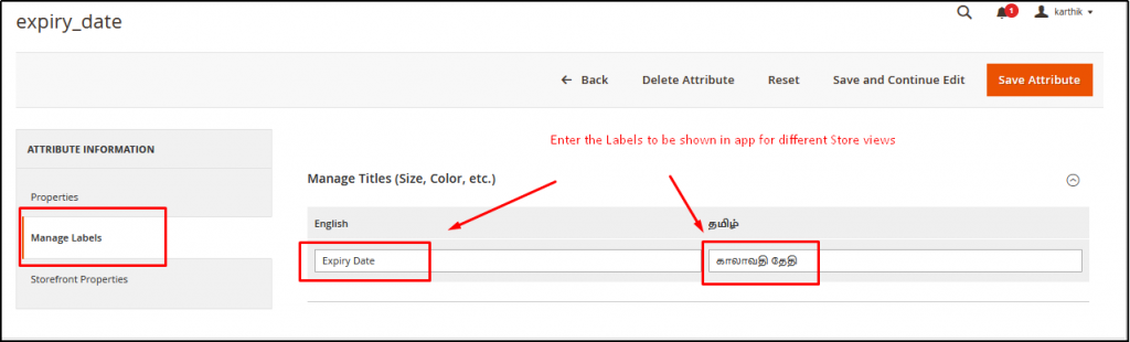 Go to Manage Labels Section